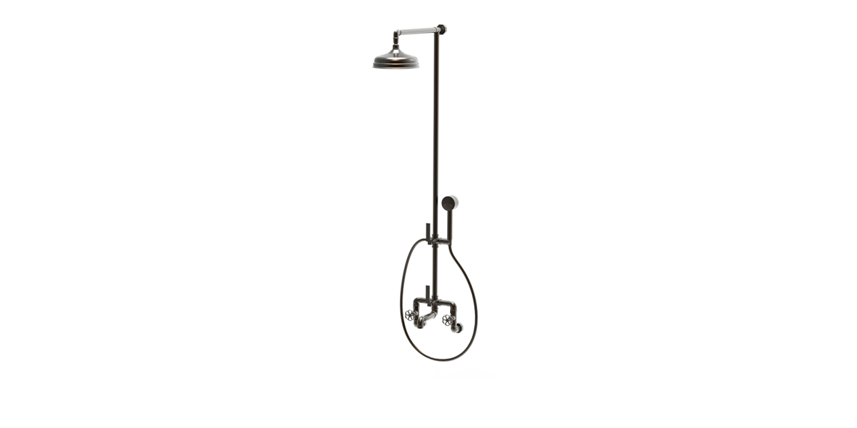 wall mounted industrial bathtub + shower tap & handset